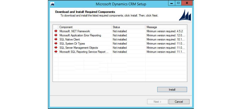 نصب پیش نیازهای مایکروسافت MSCRM