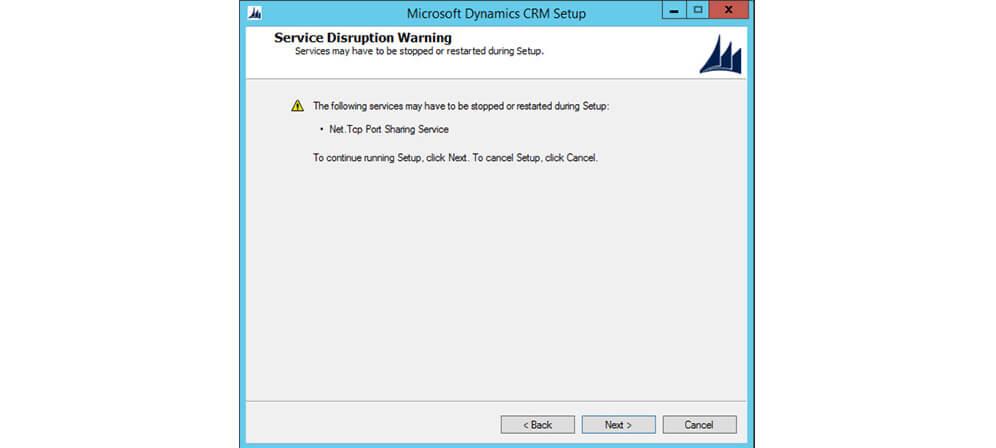 اخطارهای سرویس های نصب MSCRM