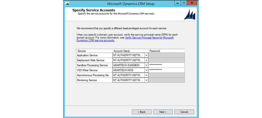 انتخاب سرویس اکانت برای MSCRM