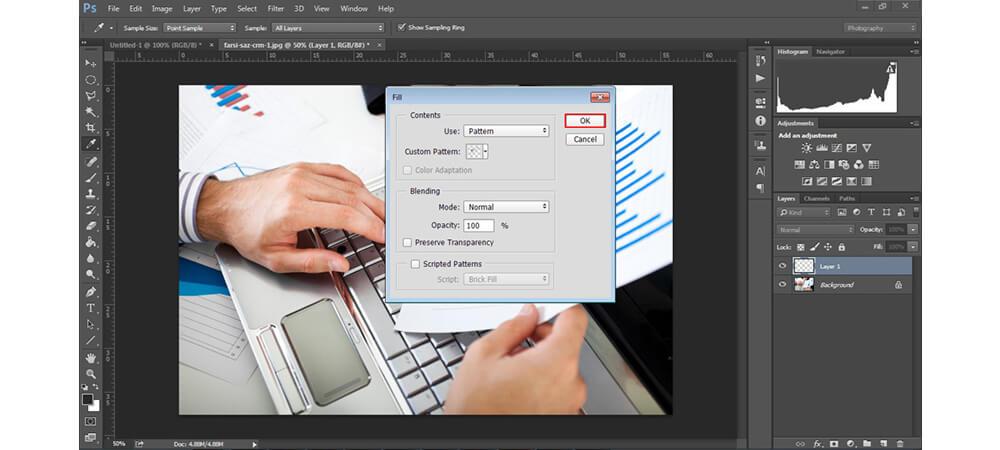 پر کردن custom pattern فوتوشاپ