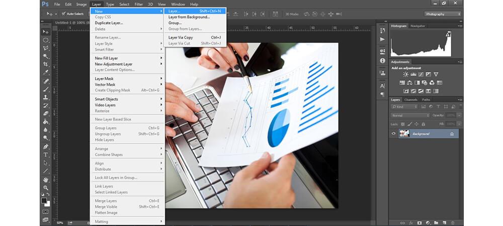 ایجاد لایه جدید در فوتوشاپ