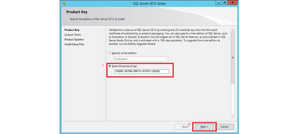 Product key برای sql سرور