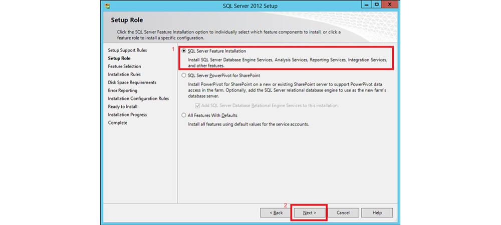 Feature های نصب sql سرور
