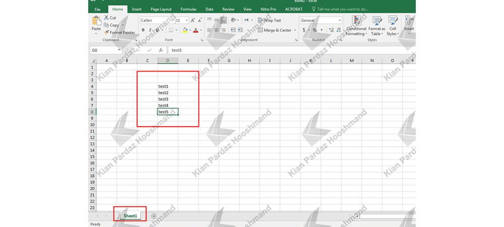 ایجاد لیست کشویی در Excel