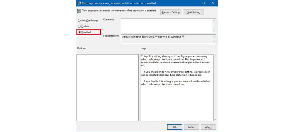 غیر فعالسازی windows defender