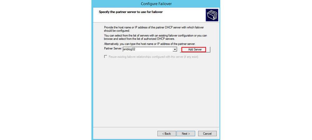 افزودن سرور در configure failover