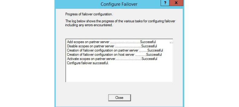 Configure Failover موفقیت آمیز