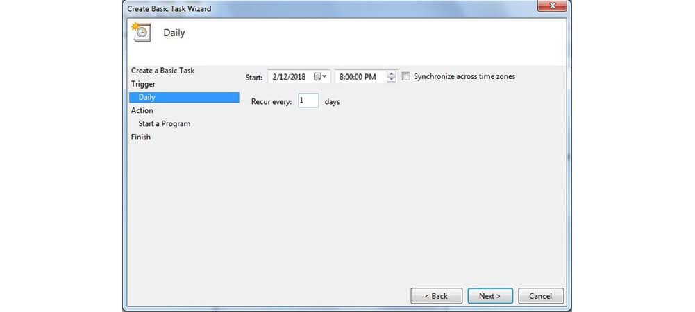 تاریخ اجرای Create Basic Task
