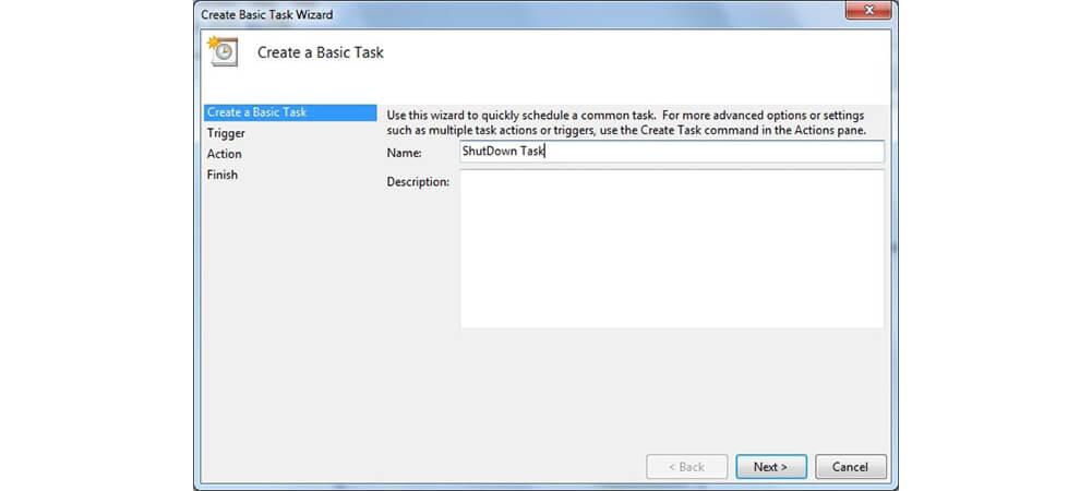 انتخاب نام Create Basic Task