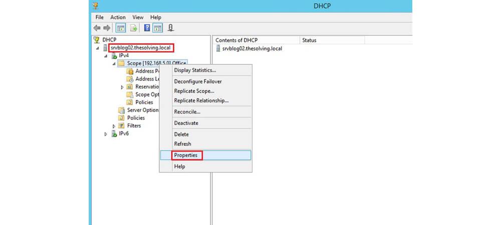 Properties سرور partner در DHCP