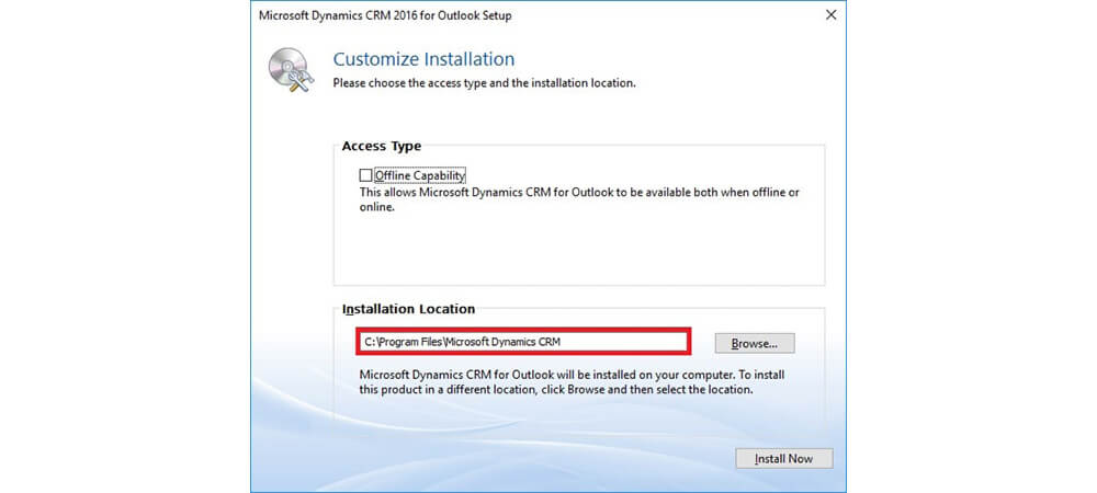 محل نصب CRM For Outlook