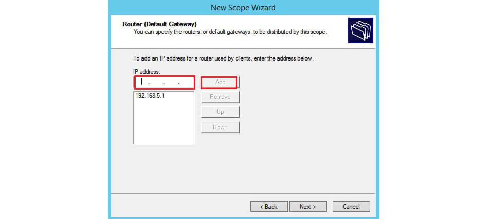 وارد کردن IP Gateway
