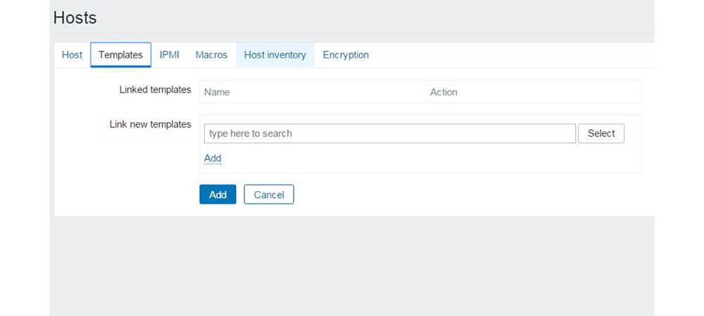 تنظیمات Templates در Hosts Zabbix