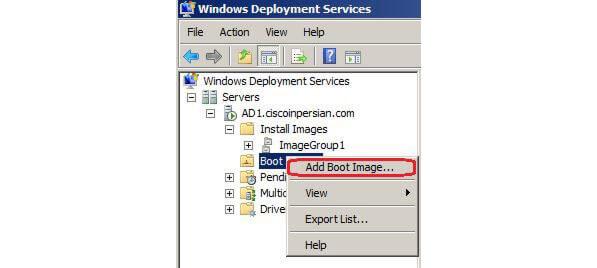 افزودن boot images در WDS