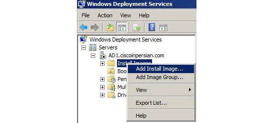 install image در کنسول WDS