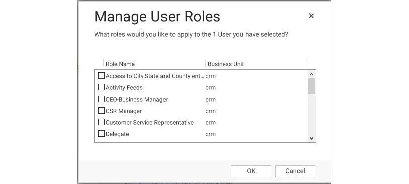 صفحه مدیریت نقش کاربر در crm