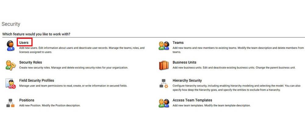بخش کاربران درمنوی تنظیمات crm